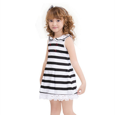 Brand Professional Children Clothing Stripes Cotton Girl Dress