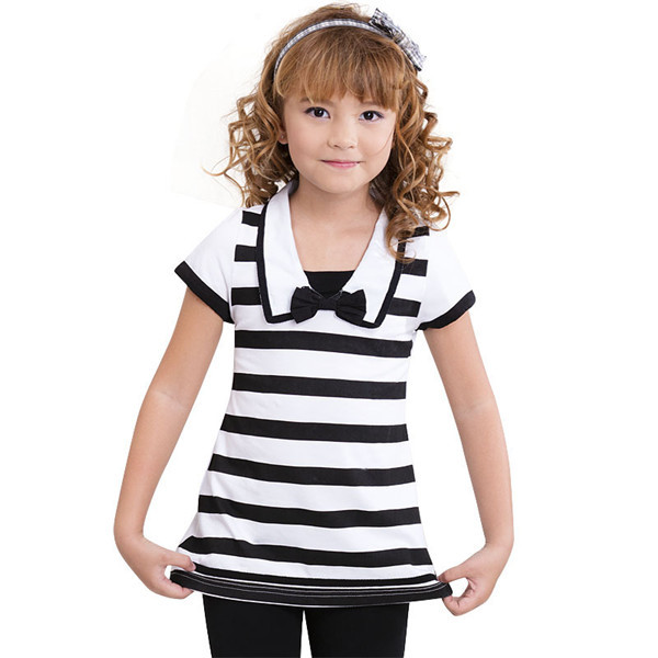 Professional Kids Clothing Supplier Girls  Short Sleeve Plaid T Shirt