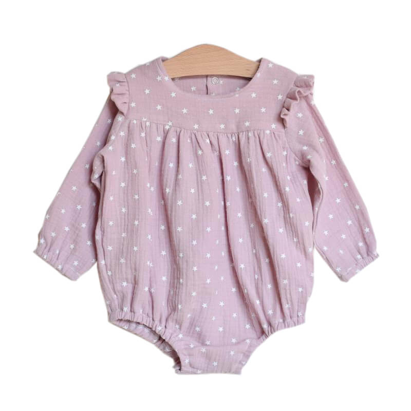 Long Sleeve Star Print Baby Romper Pink Bodysuit