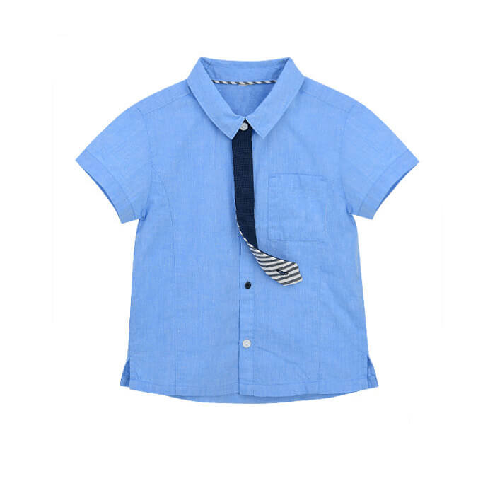Baby Toddler Little Boys Blue Shirt Short Sleeve Fake Tie